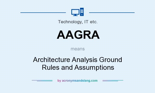 What does AAGRA mean? It stands for Architecture Analysis Ground Rules and Assumptions