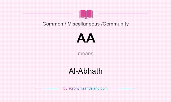 What does AA mean? It stands for Al-Abhath