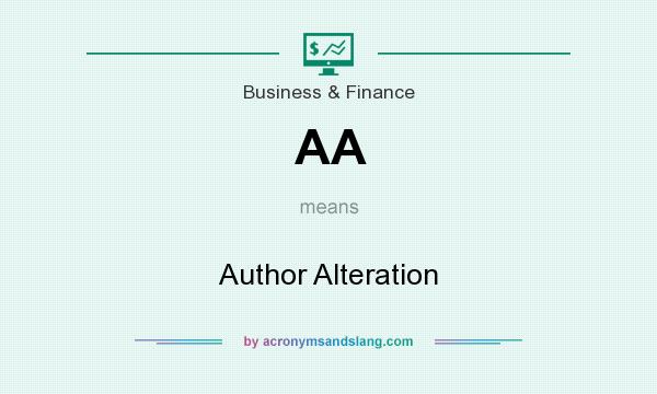 What does AA mean? It stands for Author Alteration