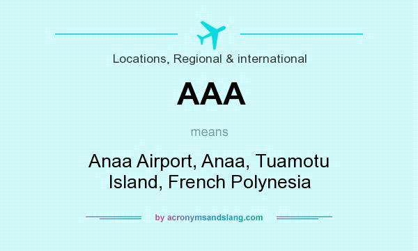 What does AAA mean? It stands for Anaa Airport, Anaa, Tuamotu Island, French Polynesia