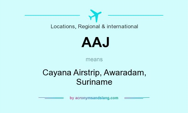What does AAJ mean? It stands for Cayana Airstrip, Awaradam, Suriname