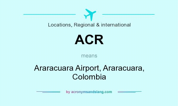 What does ACR mean? It stands for Araracuara Airport, Araracuara, Colombia