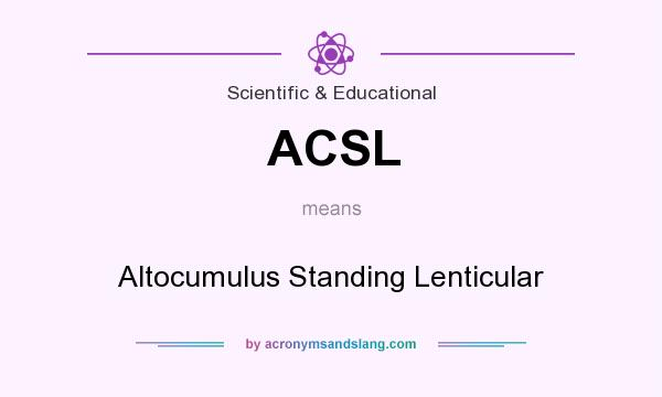 What does ACSL mean? It stands for Altocumulus Standing Lenticular