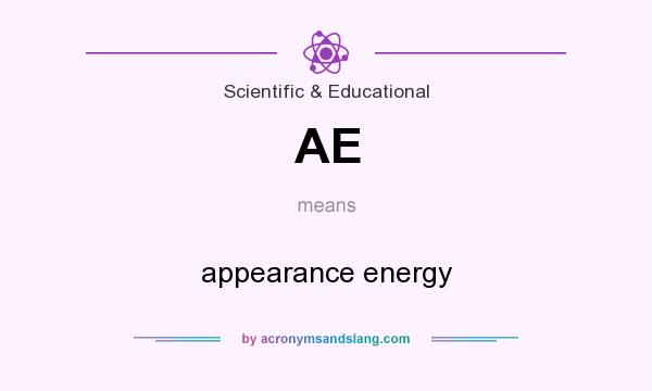 What does AE mean? It stands for appearance energy