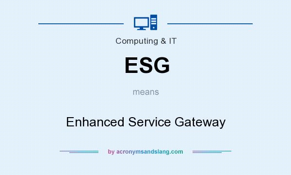 What does ESG mean? It stands for Enhanced Service Gateway