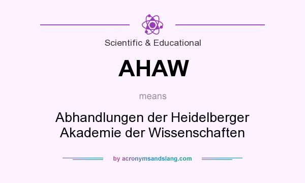 What does AHAW mean? It stands for Abhandlungen der Heidelberger Akademie der Wissenschaften
