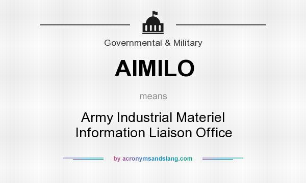 What does AIMILO mean? It stands for Army Industrial Materiel Information Liaison Office