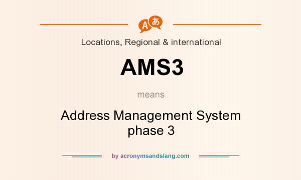 What does AMS3 mean? It stands for Address Management System phase 3