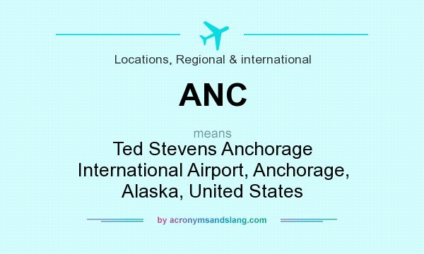 What does ANC mean? It stands for Ted Stevens Anchorage International Airport, Anchorage, Alaska, United States