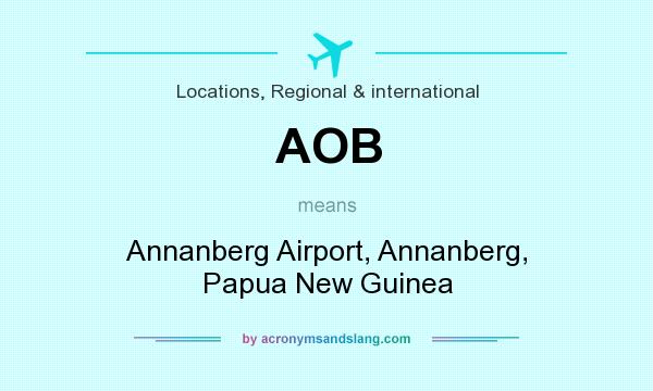 What does AOB mean? It stands for Annanberg Airport, Annanberg, Papua New Guinea