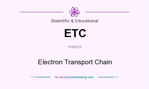 What does ETC mean? It stands for Electron Transport Chain