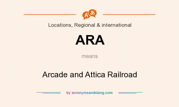 What does ARA mean? It stands for Arcade and Attica Railroad