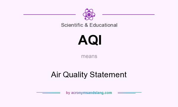 What does AQI mean? It stands for Air Quality Statement