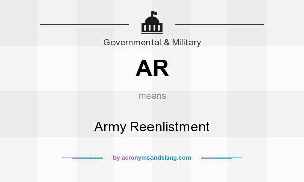 What does AR mean? It stands for Army Reenlistment