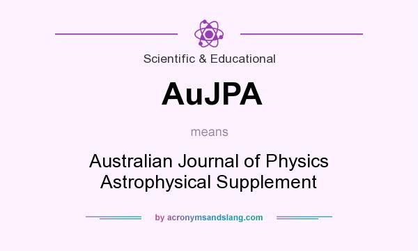 What does AuJPA mean? It stands for Australian Journal of Physics Astrophysical Supplement