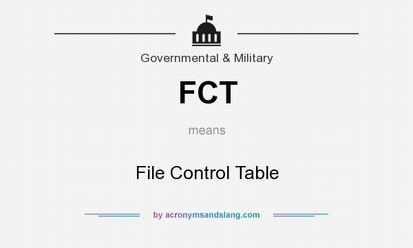 What does FCT mean? It stands for File Control Table