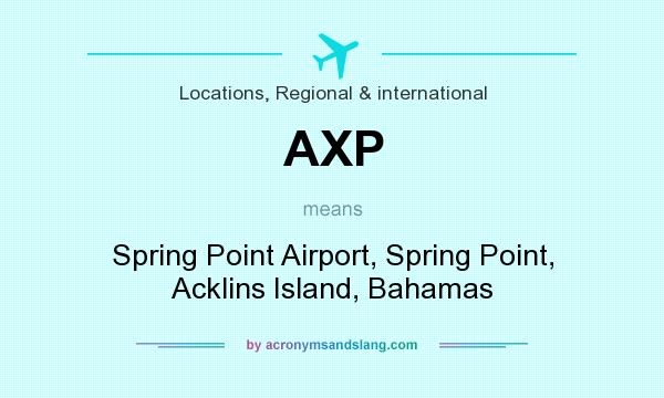 What does AXP mean? It stands for Spring Point Airport, Spring Point, Acklins Island, Bahamas