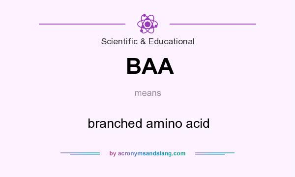 What does BAA mean? It stands for branched amino acid