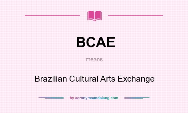 What does BCAE mean? It stands for Brazilian Cultural Arts Exchange
