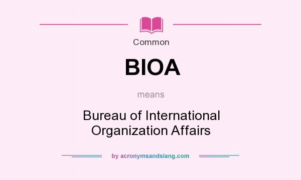 What does BIOA mean? It stands for Bureau of International Organization Affairs