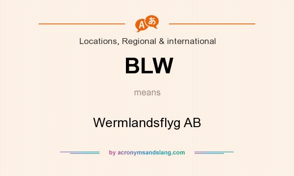What does BLW mean? It stands for Wermlandsflyg AB