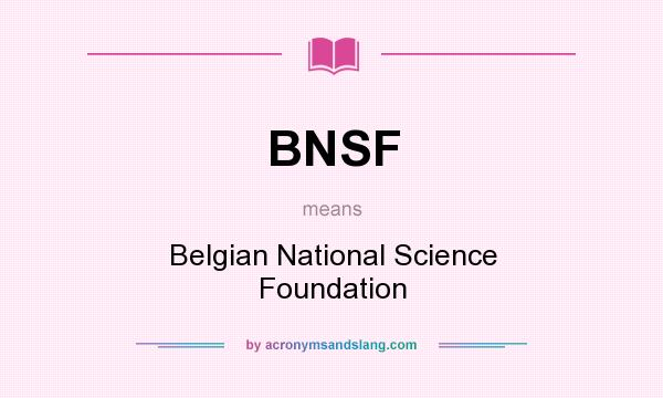 What does BNSF mean? It stands for Belgian National Science Foundation