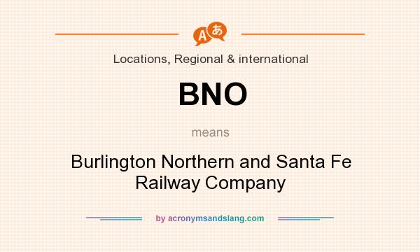 What does BNO mean? It stands for Burlington Northern and Santa Fe Railway Company