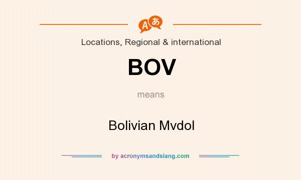 What does BOV mean? It stands for Bolivian Mvdol