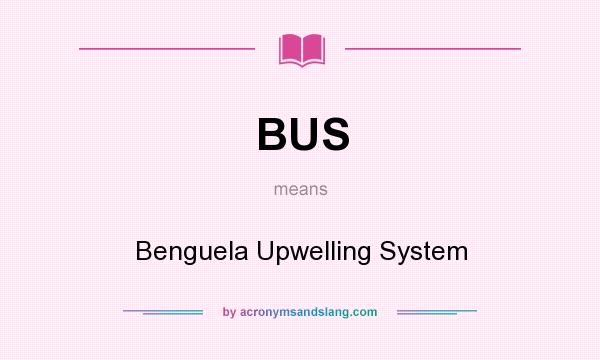 What does BUS mean? It stands for Benguela Upwelling System