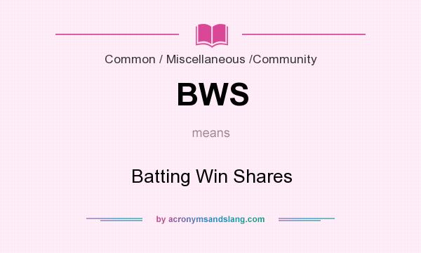 What does BWS mean? It stands for Batting Win Shares