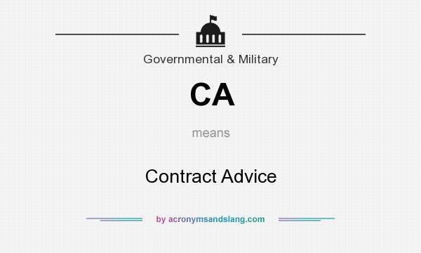 What does CA mean? It stands for Contract Advice
