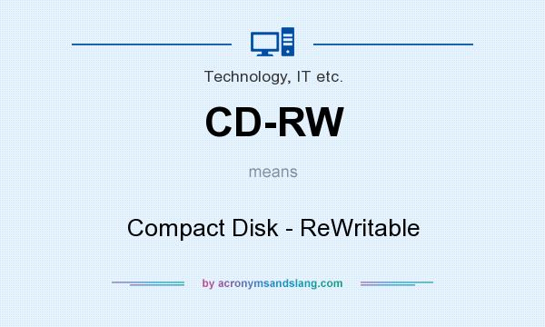 What does CD-RW mean? It stands for Compact Disk - ReWritable