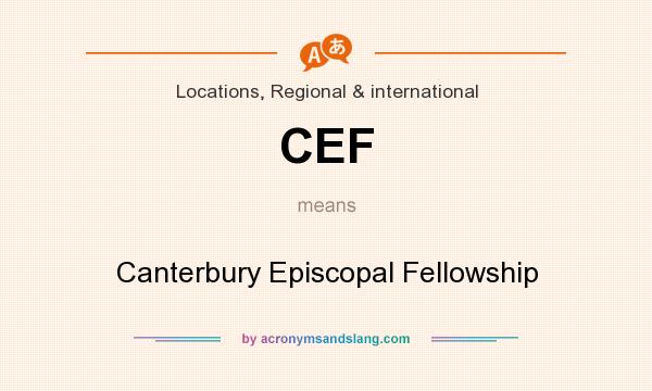 What does CEF mean? It stands for Canterbury Episcopal Fellowship