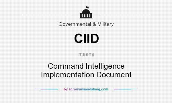 What does CIID mean? It stands for Command Intelligence Implementation Document