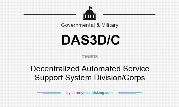 What does DAS3D/C mean? It stands for Decentralized Automated Service Support System Division/Corps