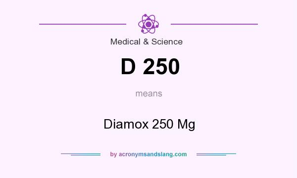 What does D 250 mean? It stands for Diamox 250 Mg