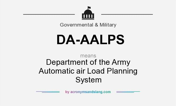 What does DA-AALPS mean? It stands for Department of the Army Automatic air Load Planning System