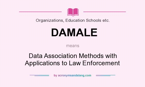 What does DAMALE mean? It stands for Data Association Methods with Applications to Law Enforcement