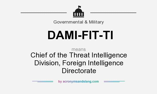 What does DAMI-FIT-TI mean? It stands for Chief of the Threat Intelligence Division, Foreign Intelligence Directorate