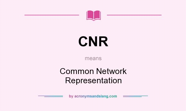 What does CNR mean? It stands for Common Network Representation