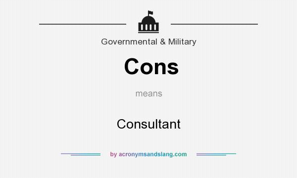 What does Cons mean? It stands for Consultant