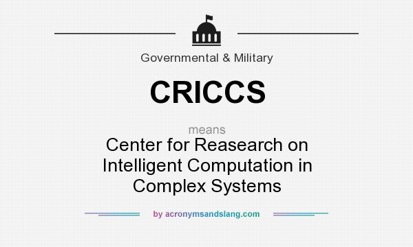 What does CRICCS mean? It stands for Center for Reasearch on Intelligent Computation in Complex Systems