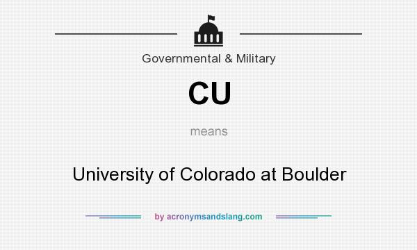 What does CU mean? It stands for University of Colorado at Boulder