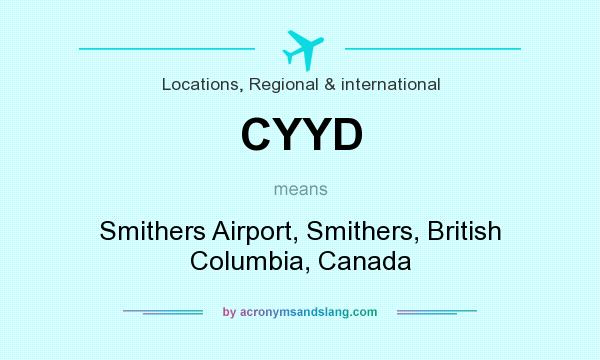 What does CYYD mean? It stands for Smithers Airport, Smithers, British Columbia, Canada
