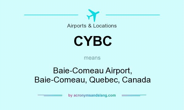 What does CYBC mean? It stands for Baie-Comeau Airport, Baie-Comeau, Quebec, Canada