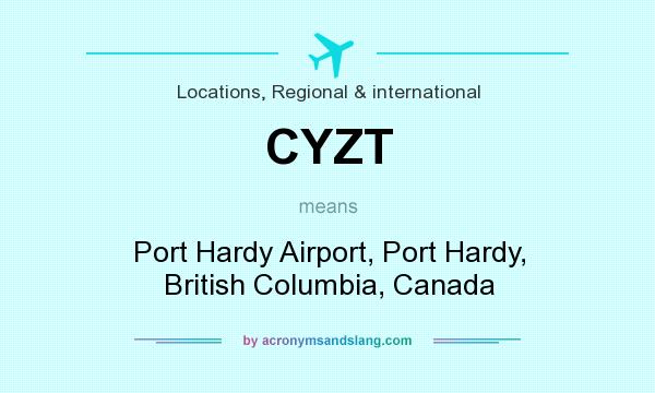 What does CYZT mean? It stands for Port Hardy Airport, Port Hardy, British Columbia, Canada