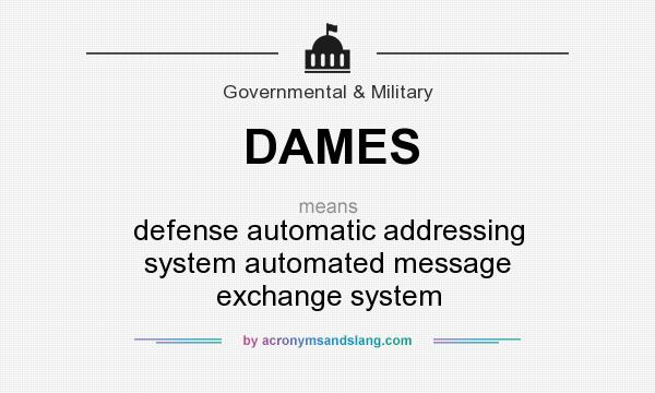 What does DAMES mean? It stands for defense automatic addressing system automated message exchange system