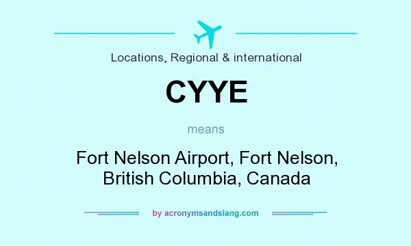 What does CYYE mean? It stands for Fort Nelson Airport, Fort Nelson, British Columbia, Canada