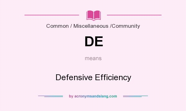 What does DE mean? It stands for Defensive Efficiency