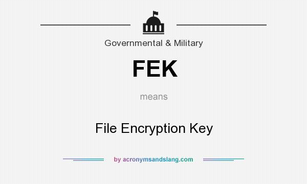 What does FEK mean? It stands for File Encryption Key